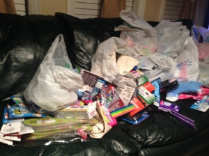 All of the items, before they went into the shoeboxes.