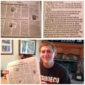 Picture of Caleb with first newpaper
